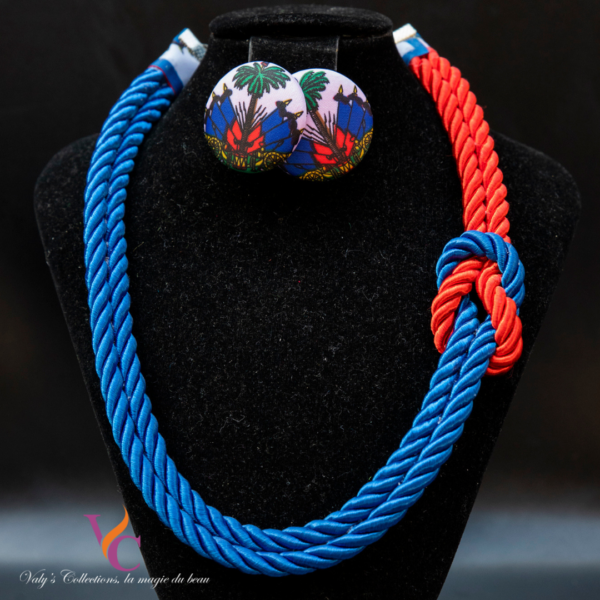 Set Necklace and Earrings with HaitianFlag